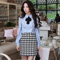 Original Shirt Female 2017 High Quality Long Sleeve Vintage Casual Buttons Bow Turn Down Collar Solid