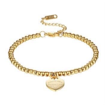 25133c0a934c Nueva moda mujer fiesta joyería amante corazón colgante Color oro rosa Acero  inoxidable pulsera cuentas cadena mujer pulseras brazaletes