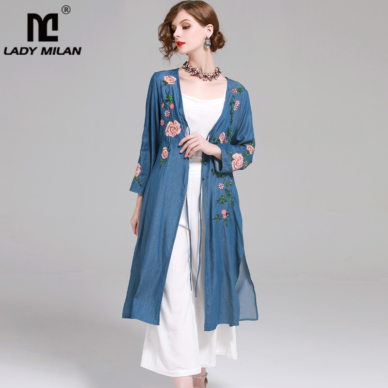 New Arrival 2018 Womens Long Sleeves Embroidery Lace Up High Street Fashion Denim Long Outerwear Trench Coats