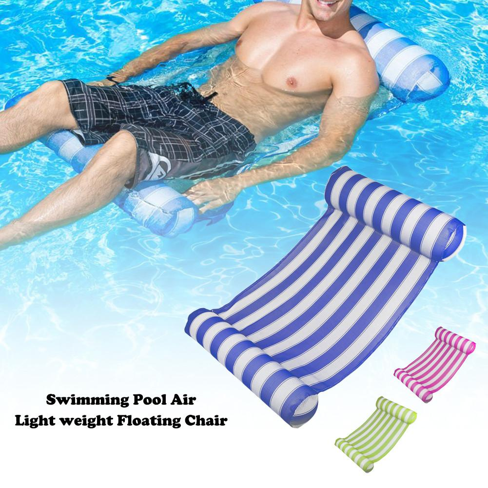 Portable Swimming Pool Mat Water Hammock Pool Lounger Float Hammock Inflatable Raft Bed Lightweight Floating Chair