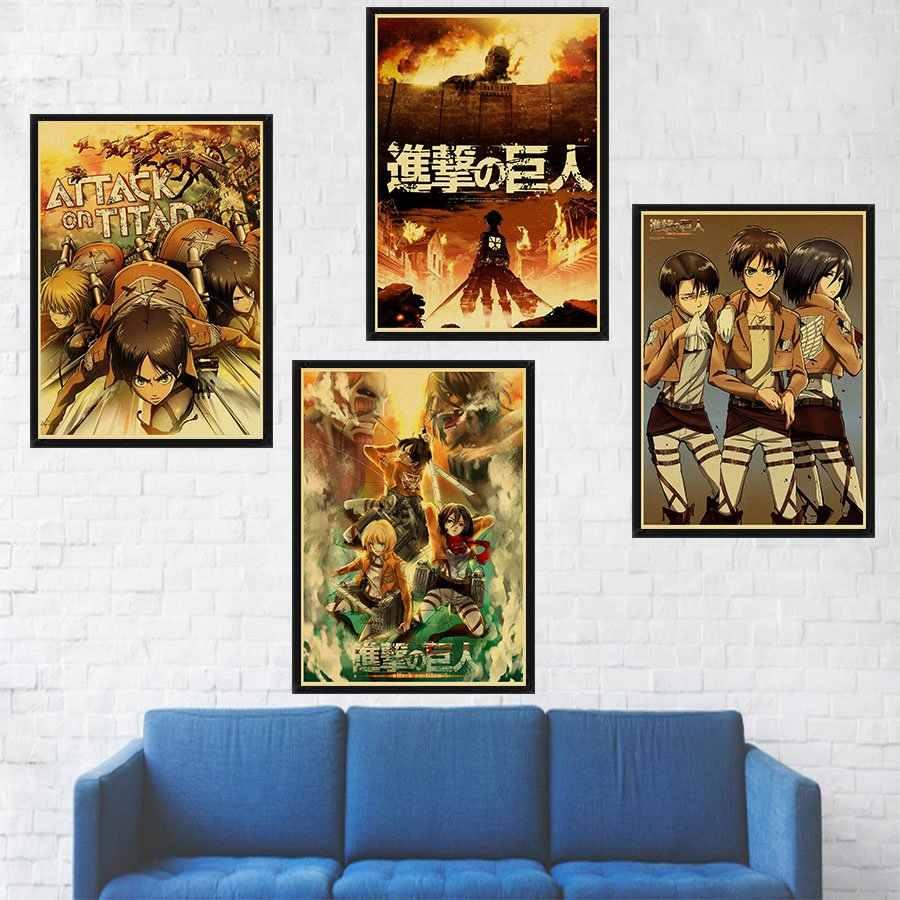 Классический японский аниме Атака Титанов мультфильм ретро плакат, крафт-бумага бумажный плакат в детскую комнату дома Настенная декоративная живопись постер