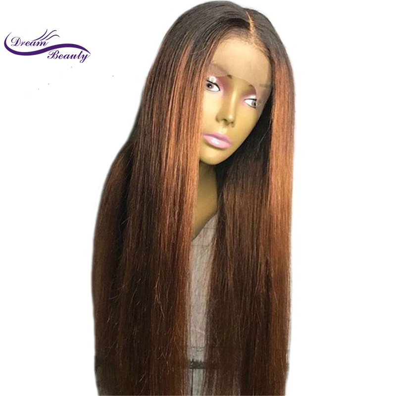 13 * 6 Deep Parting Lace Front Wigs Ombre Warna lurus Remy Remy - Rambut manusia (untuk hitam)