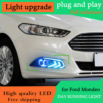 DY_L Car Styling Day Runing Light for Ford Mondeo for Ford Fusion DRL 2013 2014 2015 2016 Fog Light Fog Lamp LED DRL Angel Eyes