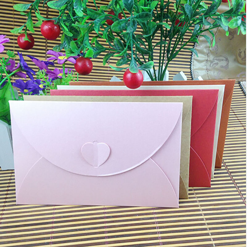 10 pcs/lot Fashion Retro Heart Shape Vintage Romantic Paper Envelop Gift For Wedding Invitation/Card Stationery Free Shipping
