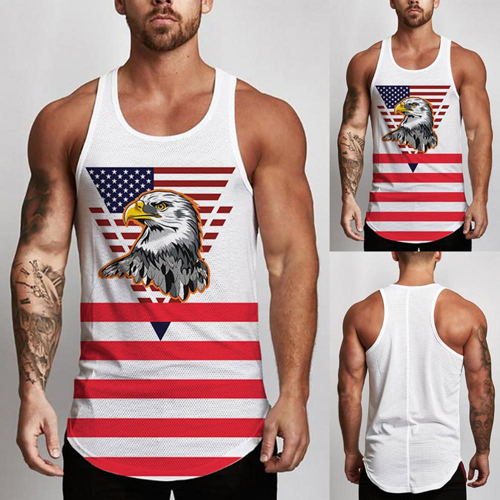 Men's Sleeveless Independence Day Printing Mesh Breathable Bodybuilding Sport Vest Compression Tights Flexibility   tank     top