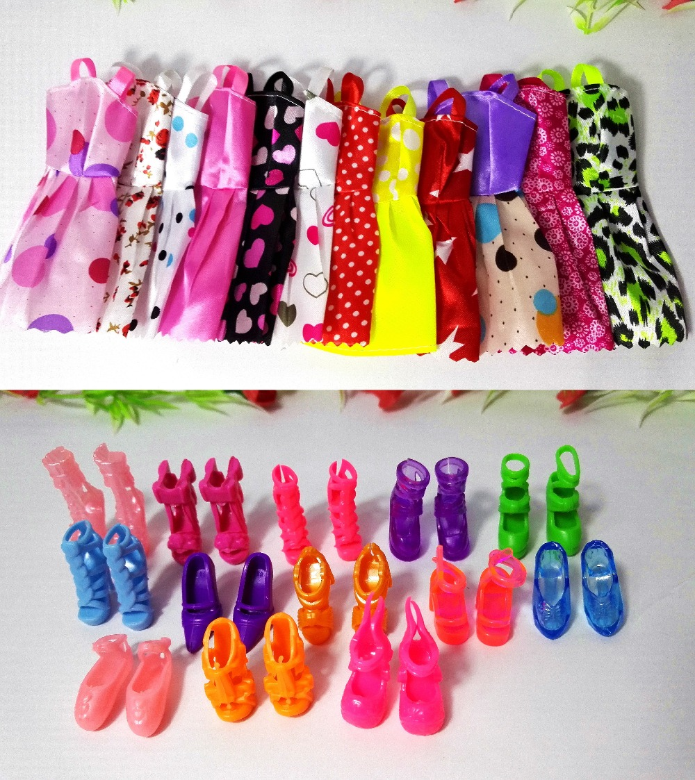 new 20 PCS/set Handmade Party 12 Clothes Fashion Mixed style Dress + 8 Pair Accessories Shoes for Barbie Doll Best Gift Girl Toy new 20 pcs set handmade party 12 clothes fashion mixed style dress 8 pair accessories shoes for barbie doll best gift girl toy