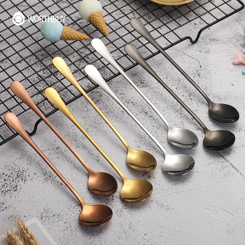 WORTHBUY krāsains karote nerūsējošā tērauda tējkarote garš rokturis kafijas karote komplekts virtuves piederumi deserta kafijas tējkarote