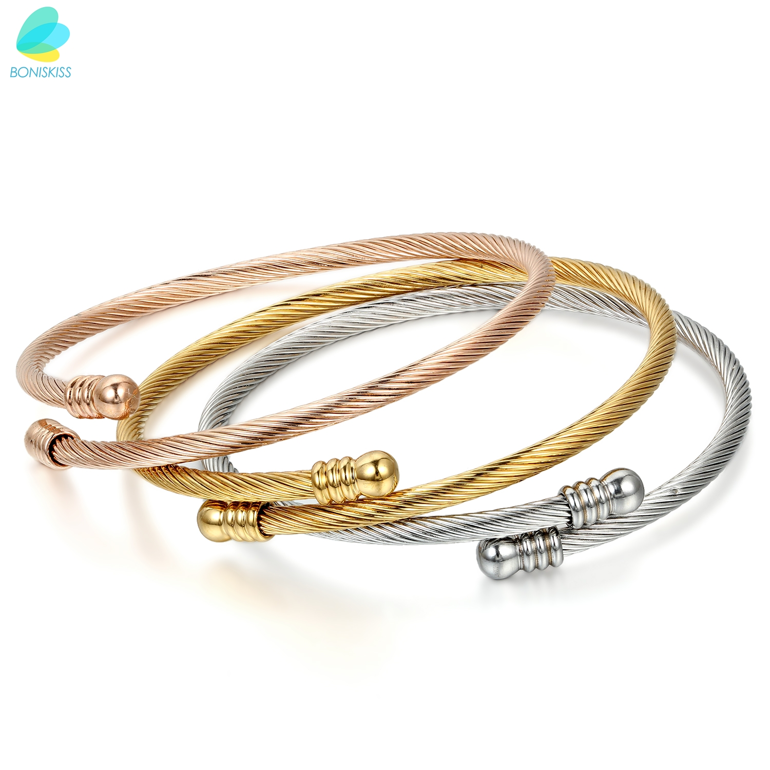 BONISKISS Rose Gold Tone Stainless Steel Triple Three Stackable Cable Wire Twisted Screw Nail Cuff Bangle