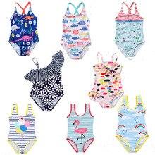 Детский купальный костюм для малышей, милый купальник для маленьких девочек, Цельный купальник с рисунком фламинго, От 3 до 8 лет, купальный костюм для девочек, детский летний купальный костюм