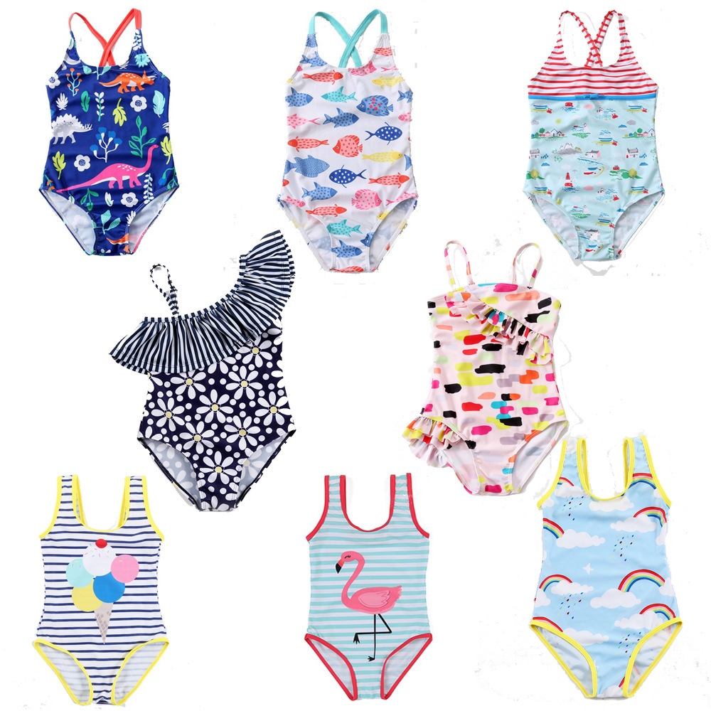 Toddler Kids Swimsuit Cute Baby Girl Swimwear One-piece With Flamingos Pattern 3-8Y Girls Swimsuit Children Summer Bathing Suit