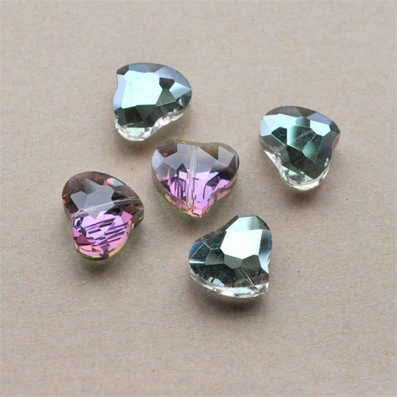 5pcs 20x16mm Faceted Heart Shape Crystal Glass Loose Spacer Beads Charms Jewelry
