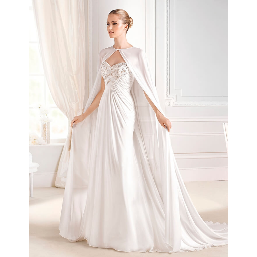 Buy sweetheart beaded sleeveless for Wedding dress with cape train