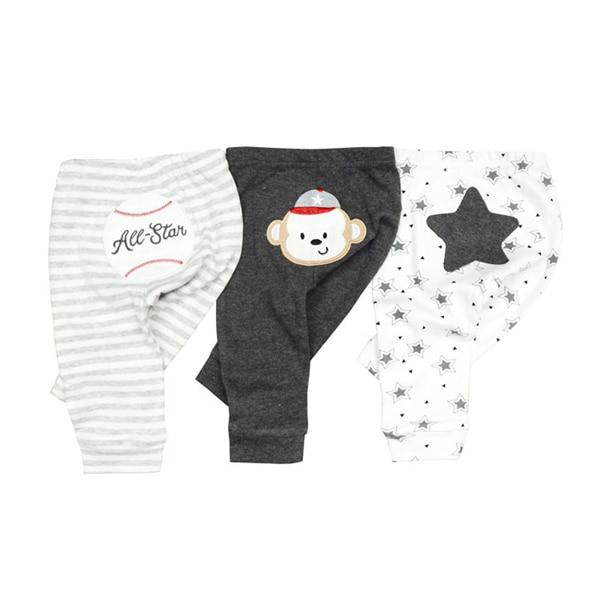2019 3/4PCS/LOT 0-12M Solid Baby Gril Pants Newborn Cotton Infant Solid Baby Pants Striped Cartoon Baby Boy Pants