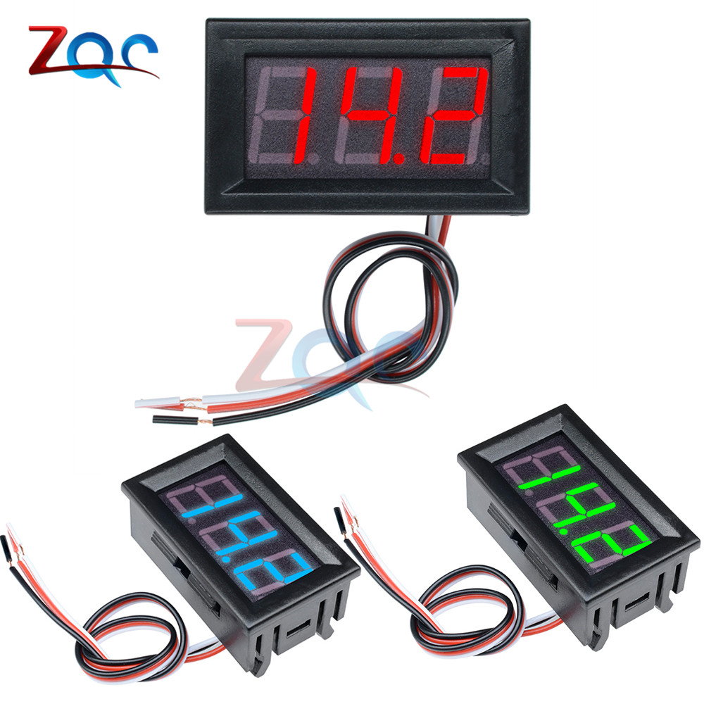 Mini Voltmeter Tester Digital Voltage Meter Volt Test Battery DC 0-30V 3 Wires For Auto Car LED Display Gauge Red Green Blue DIY