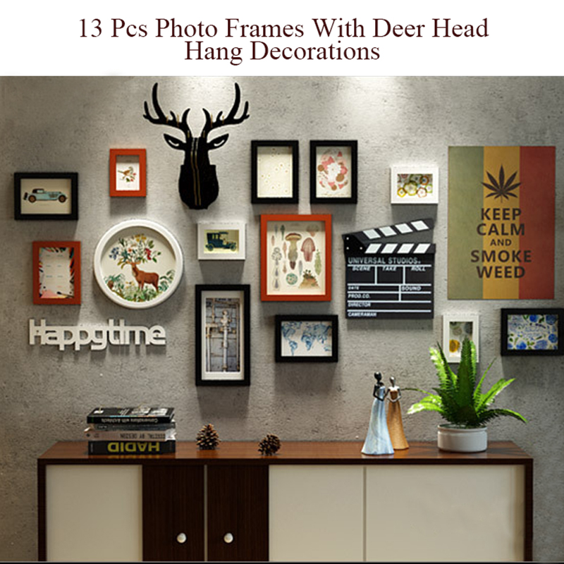 13 Piece Wood Photo Frames Murals Wall Hanging Decoration Deer Head ...