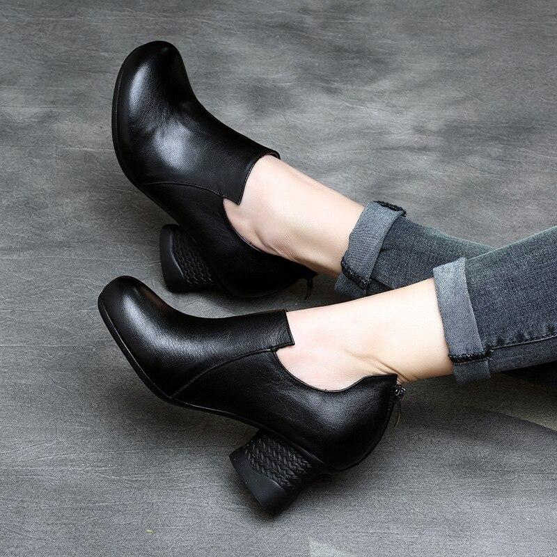 Tyawkiho rabat Handmade wiosna damskie botki brązowy marka prawdziwej skóry 5 CM wysoki obcas czarne zestaw butów wygodne w Buty do kostki od Buty na  Grupa 1