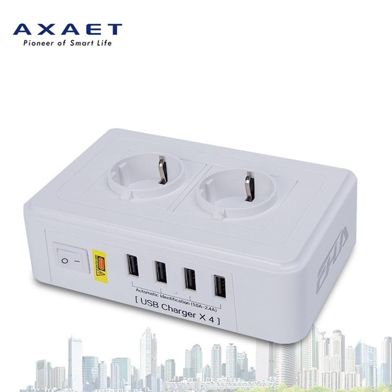 AXAET EHUA EU multiprise 2 prises 4 USB chargeur Extension 1.8 M cordon d'alimentation 250 V 10A 2500 W prise électrique interrupteur adaptateur