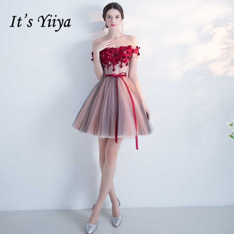 6f7671dacc9 Это yiiya Красный Популярные без рукавов Короткие красивые аппликации  Cocktai платья цветочный узор пояса лук коктейльное