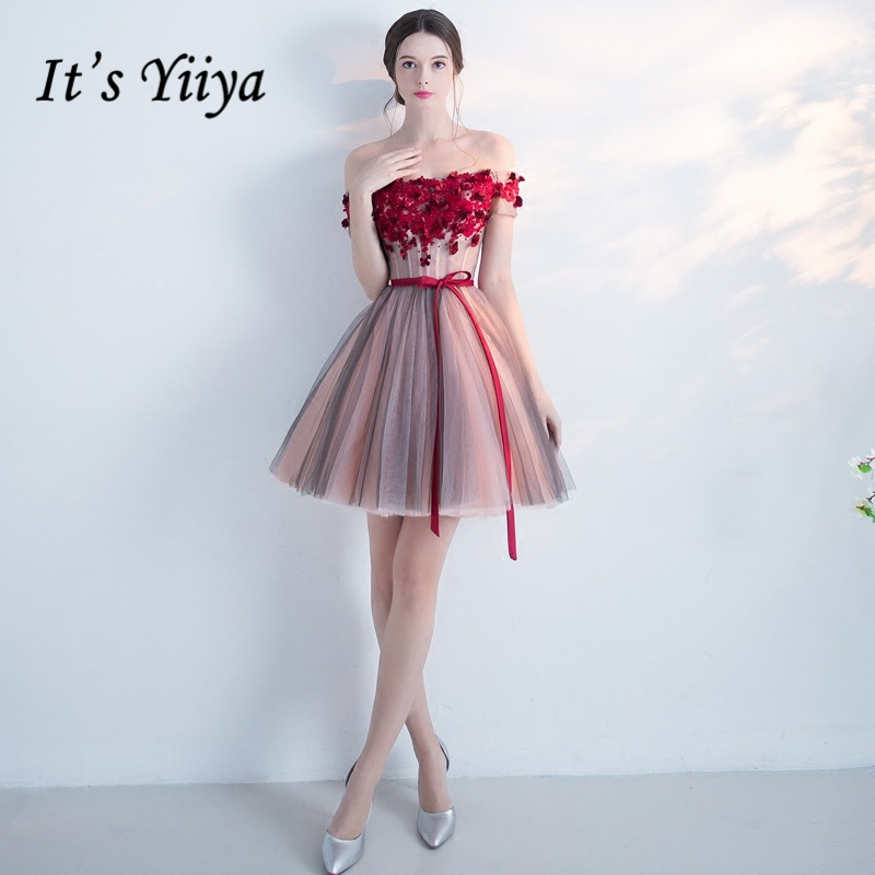 It's YiiYa Red Popular Sleeveless Short Beautiful Appliques Cocktai Gowns Flower Pattern Sashes Bow Cocktail Dress L013