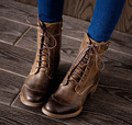 Clássicas botas de couro genuíno martin botas femininas botas de couro 2016 outono novas mulheres botas de salto médio T5035-3