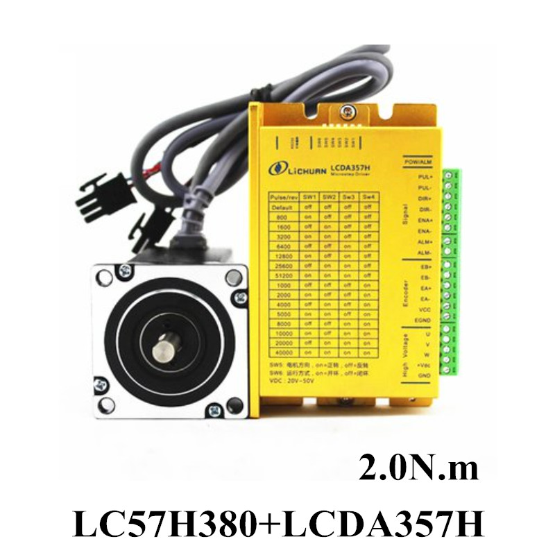 57 86 Closed Loop Stepper Motor Driver Kits LC57H380+LCDA357H 3PH 2N.m Hybrid Servo 3m Encoder for Carving Machine free shipping 2 phase 8 5n m closed loop stepper servo motor driver kit 86j18118ec 1000 2hss86h cnc machine motor driver