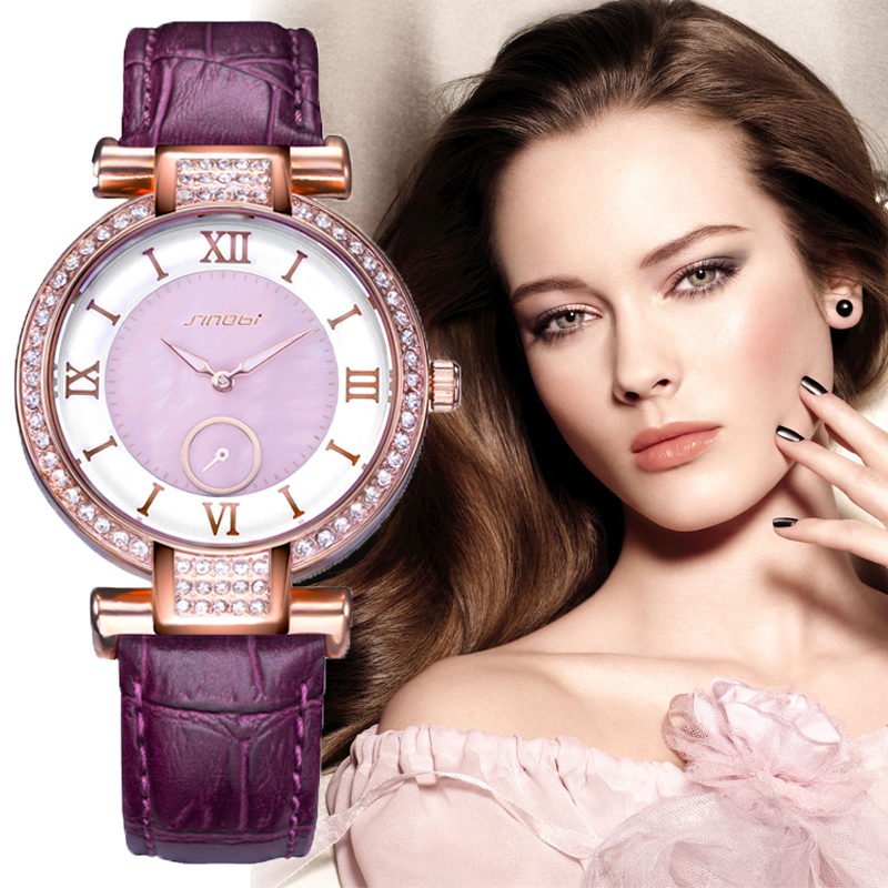 Prix pour Sinobi 2017 nouveau coloré diamant montre femmes d'or robe genève horloge marque de luxe bracelet en cuir dame de mode montres à quartz