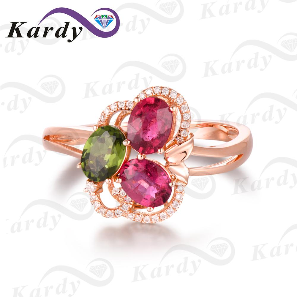 Incroyable Design pierre précieuse Tourmaline naturelle véritable diamant 14 K or Rose bague de fiançailles de mariage ensemble - 2