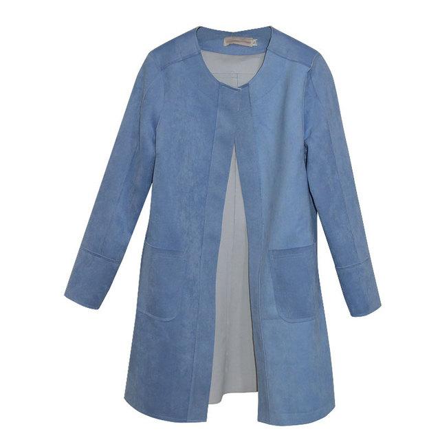 Nova moda frete grátis de 2016 primavera / outono casacos casaco de camurça mulheres camurça de manga comprida casacos