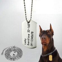 Hateli Free Лазерная гравировка Pet ID Tag 316L Нержавеющая сталь Собака ID Теги Индивидуальные удостоверения личности животных для собак и кошек Номер телефона