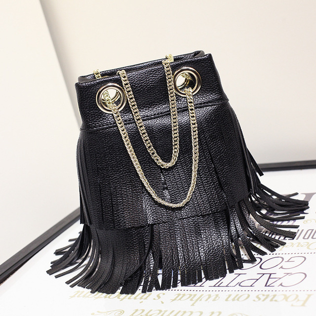 2016 new style fashion small bucket bags handbags women famous brands gold chain tassel bag ladies leather handbag high quality