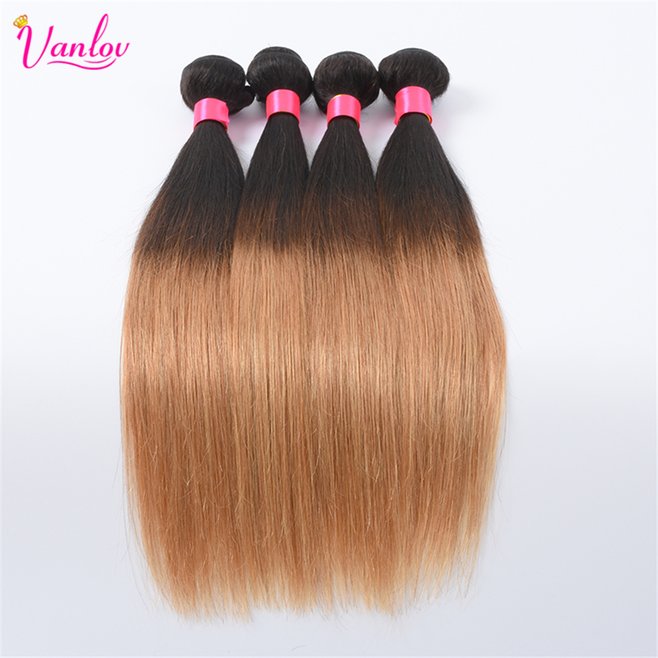 Vanlov Ombre Human Hair Weave Bundles Malaysian Straight Hair 2 Tone T1B/27 Non Remy Ombre Hair Extension 1PC 100g Double Weft