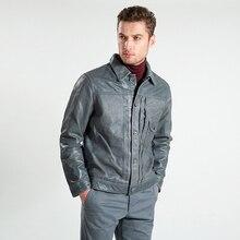 משלוח חינם. מותג קלאסי סגנון cowskin מעיל, איש של 100% אמיתי עור בגדים, אופנה גברים של slim מעיל, בציר 506.