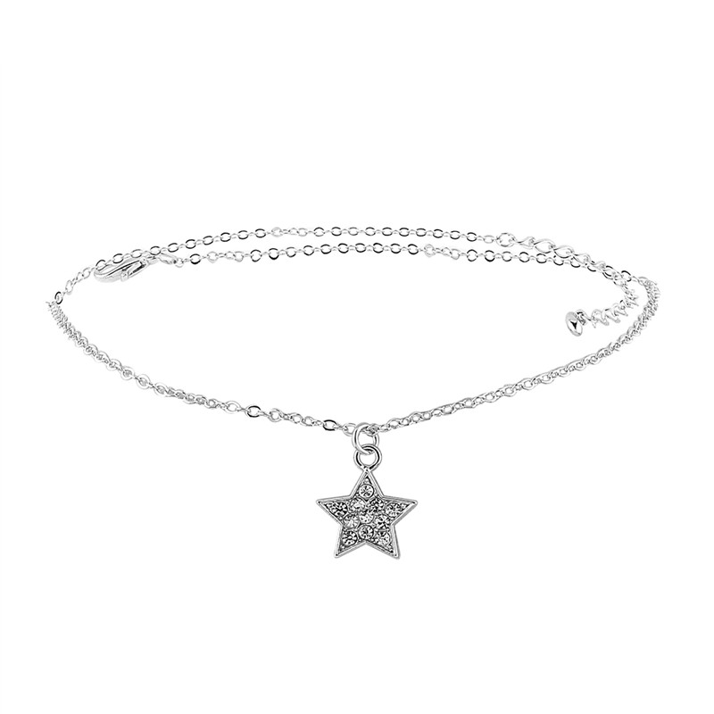 2017 New Fashion Flannel Leather Velvet Rhinestone Alloy Chain Beautiful Polishing Plating Five-Pointed Star Nacklace Women