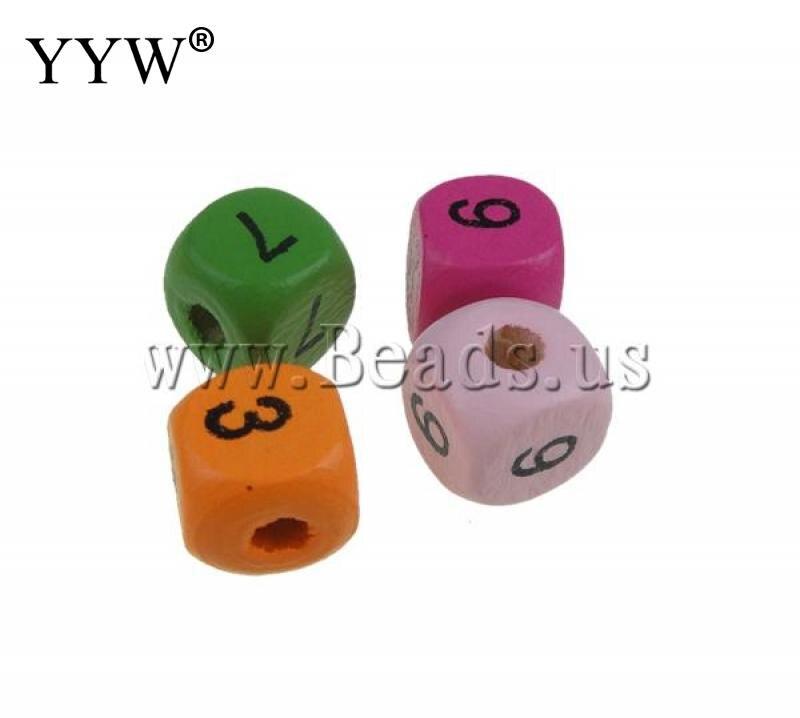 YYW <font><b>Wood</b></font> <font><b>Beads</b></font>,Top Selling, Cube, <font><b>mixed</b></font> <font><b>colors</b></font>, 10mm, Hole:Approx 3mm, 100PCs/Bag, <font><b>Sold</b></font> By Bag