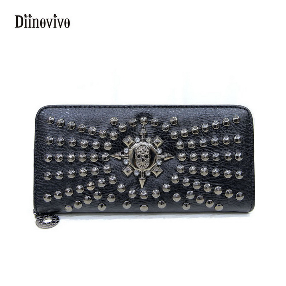 DIINOVIVO Rivet Handbags Elegant Purse Punk-Design Luxury Leather Casual Fashion Women