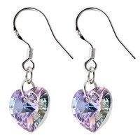 Women Real 925 Silver Crystal from Austria Drop Earrings Heart Classic Purple Zircon Earring Party Fashion Jewelry Free Shipping