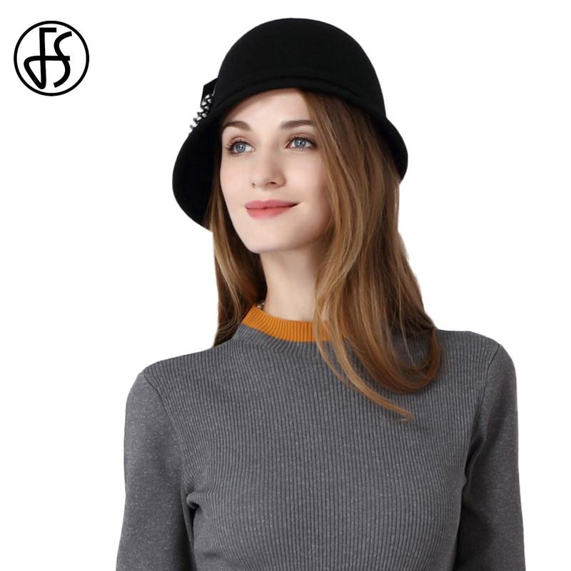 FS Vintage Autunno Inverno Tesa Larga Cappello di Feltro Nero Bowler  Cappelli di Lana Per Le c9494ea526fb