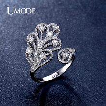 UMODE Brand New Fashion Women Jewelry Cute Vintage White Gold Color CZ Leaf Rings Bagues Anillos