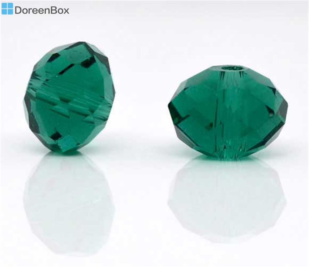 Doreen Box hot- 70Pcs Created Malachite Green Crystal Glass Faceted Rondelle Beads 5040 8x6.3mm(B09096)