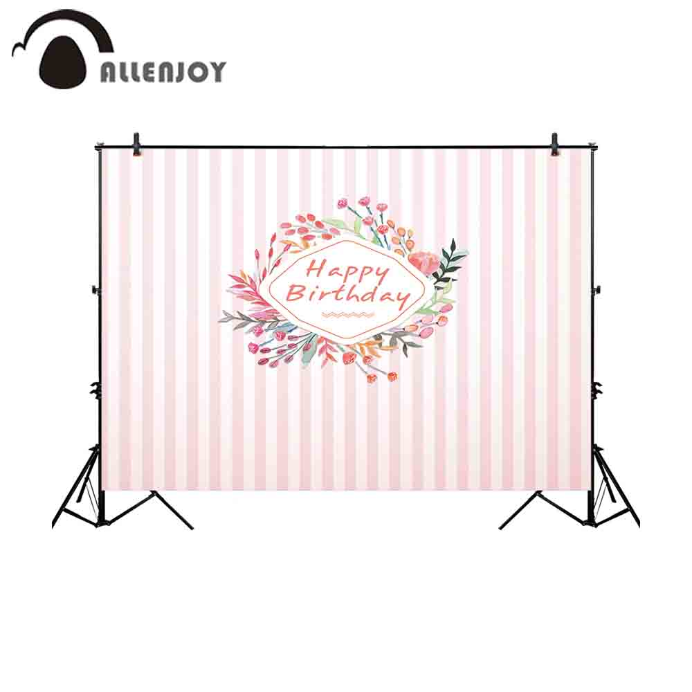 Allenjoy photocall photography backdrops colorful floral frame birthday party pink stripes girl background for photo sessions