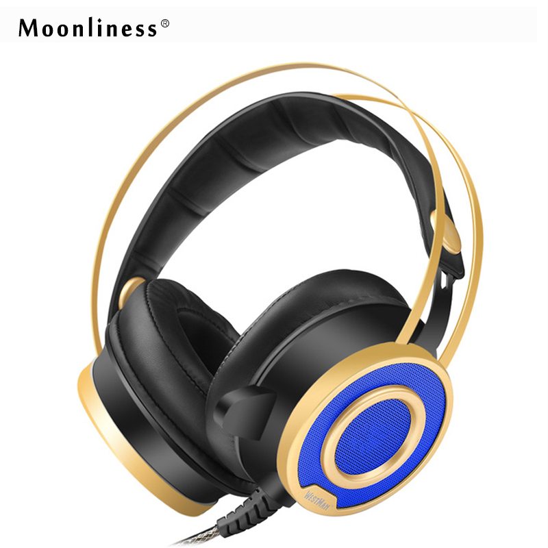 Moonliness Gaming Headphone Best Computer Headset Game Headphones Over-ear Stereo Deep Bass with Mic for Computer PC with LED 2017 hoco professional wired gaming headset bass stereo game earphone computer headphones with mic for phone computer pc ps4