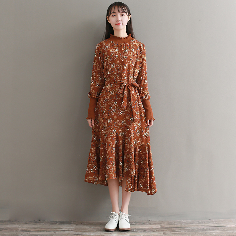 Iadoaixnal knitted patchwork floral print belt slim full sleeve women dress summer o-neck asymmetrical vintage female long dress iadoaixnal knitted patchwork floral print belt slim full sleeve women dress summer o neck asymmetrical vintage female long dress