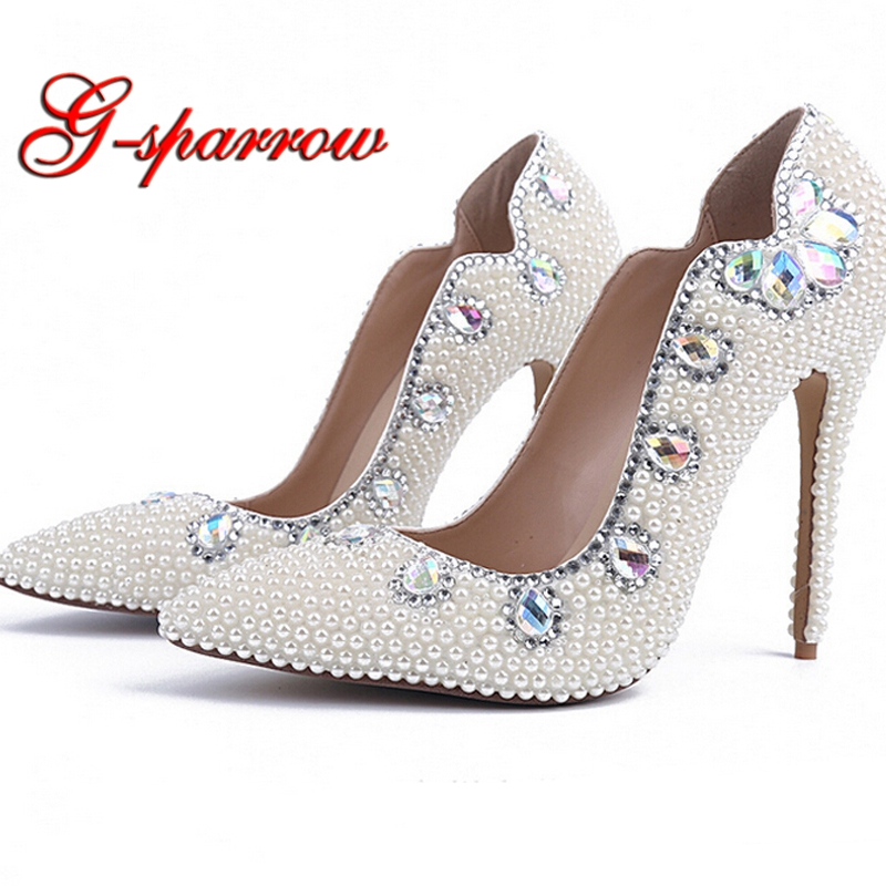 2018 Fashion High Heel Lady Shoes White Pearl Pointed Toe Sexy Wedding Party Shoes Adult Ceremony Heels Nightclub Woman Pumps bride wedding shoes 2018 chunky heel banquet party shoes fashion white pearl prom high heels pointed toe lady pumps size 41