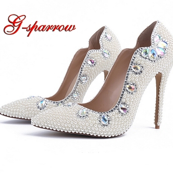 2018 Fashion High Heel Lady Shoes White Pearl Pointed Toe Sexy Wedding Party Shoes Adult Ceremony Heels Nightclub Woman Pumps