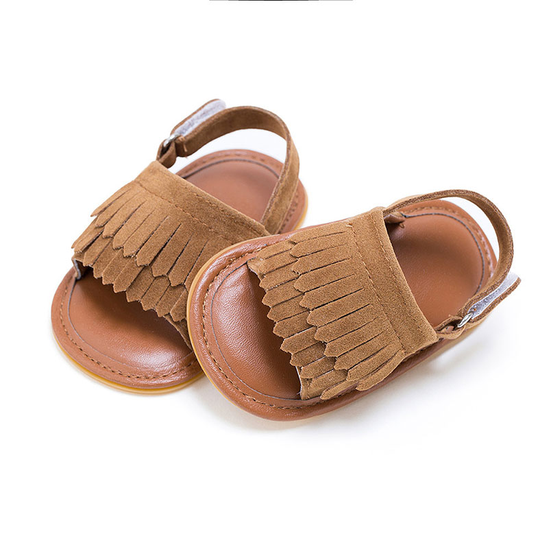 3c3eebe0a Comfortable PU Leather Baby Sandals Boys Girls Shoes Beach Tassels Slip  resistant Rubber Moccasins Summer Toddler Crib Play Mats-in Play Mats from  Toys ...