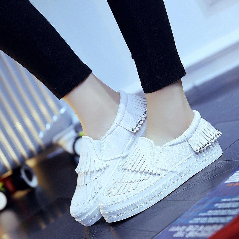 2016 Spring Fashion Canvas Flat Loafers font b Women b font Shoes Tassel Rivet Style Platform