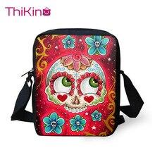 Thikin Candy Skull Shoulder Messenger Bag Cool Summer Crossbody Phone for Boys Shopping Bags Mochila Infantil