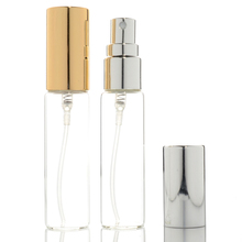 50pcs/lot 10ml Transparent Thin Glass Spray Bottle Sample Glass Vials Portable Mini Perfume Atomizer Gold Silver Cap