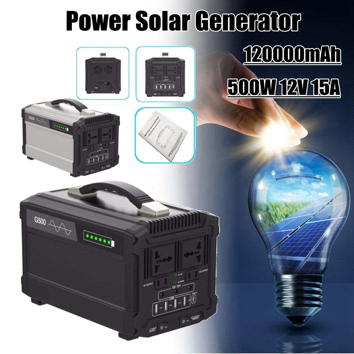 444Wh 120000 mah 500 w 12 v 15A De Stockage D'énergie Accueil Extérieure Portable Power Solaire Générateur de Charge Plus Rapide