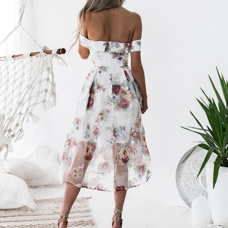 HTB1z64rjcbI8KJjy1zdq6ze1VXaq - FREE SHIPPING Women Summer Dress 2018 Floral Printed Off Shoulder JKP406